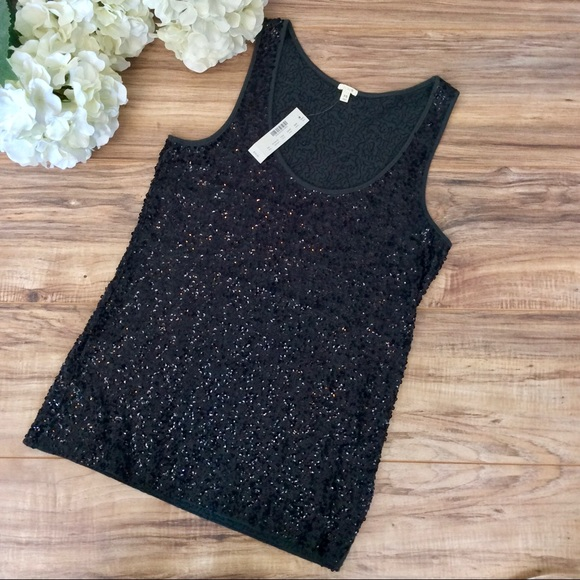NWT J. Crew Grey Sequin Tank Top Size XS